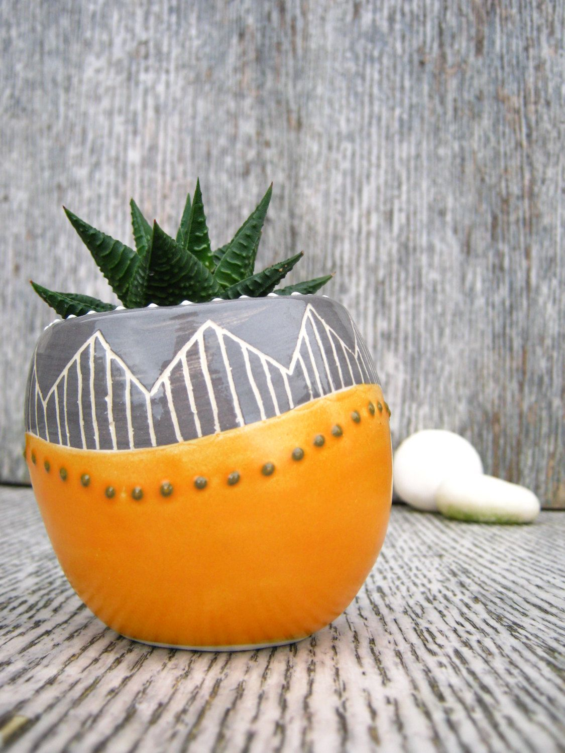 Ceramic Pottery For Plants Handmade Ceramic Succulent Cactus Pot Planter In Orange