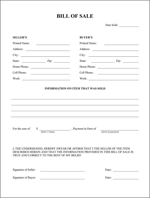 Printable Sample Rv Bill of Sale Form Form Laywers Template - bill of sale template doc