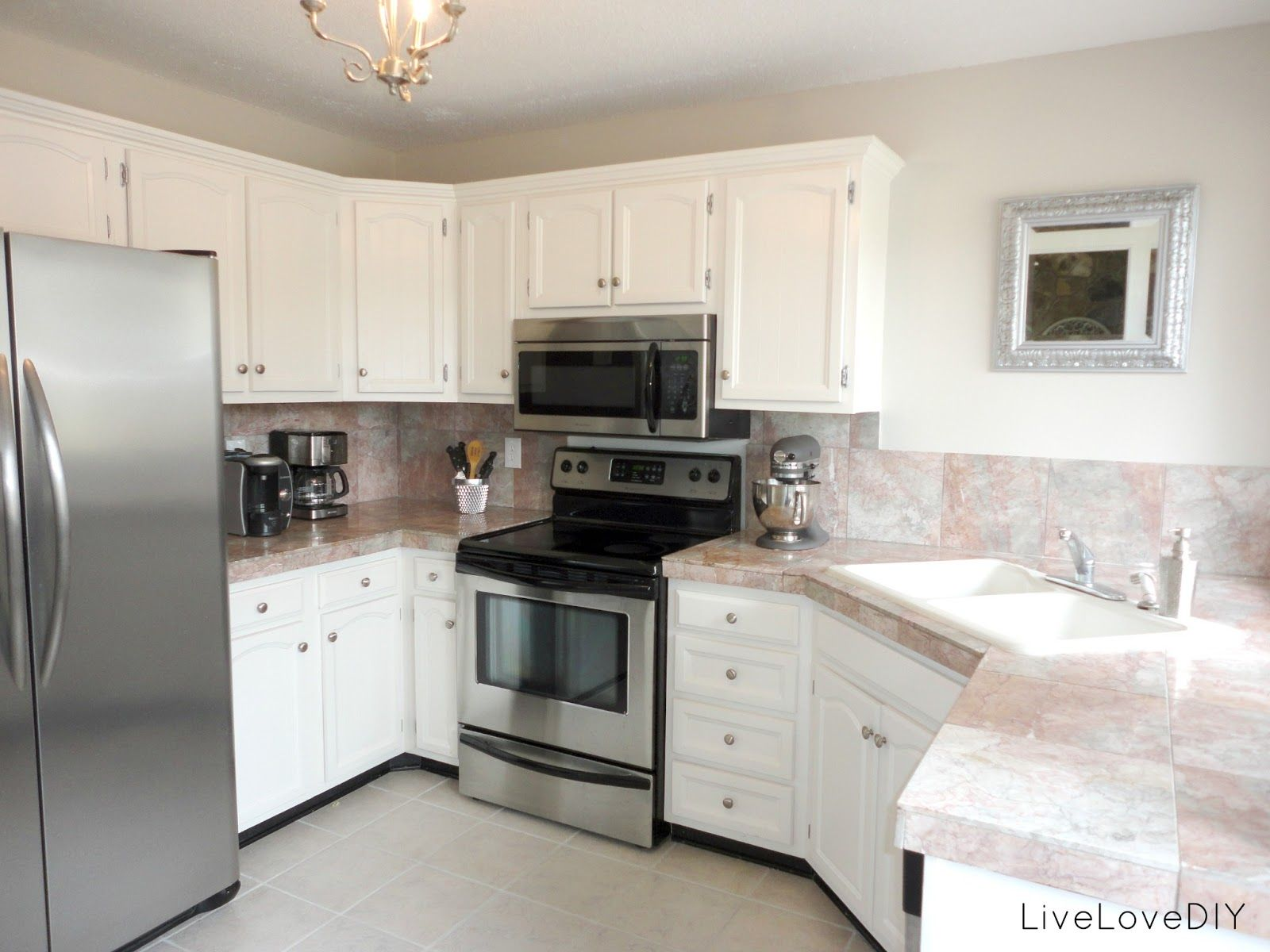 white kitchen countertops white aluminum kitchen cabinets LiveLoveDIY A DIY Blogger s Guide to Paint Products That Work