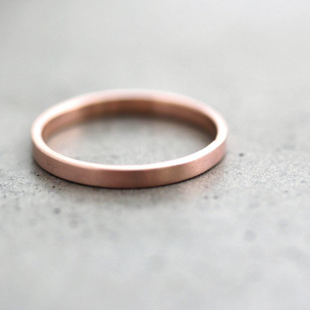brushed gold wedding band Rose Gold Wedding Band Stackable Ring 2mm Slim Flat Recycled 14k Rose Gold Ring Brushed Pink Gold Wedding Ring or Stacking Ring
