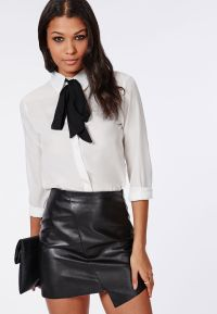 Ladies White Blouse With Black Tie - Breeze Clothing