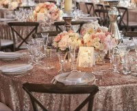 Dusty rose sequin tablecloth.