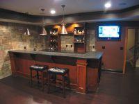 Custom Basement Bar with Stone Veneer on the walls | Bars ...