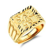 18k gold ring men Send word drawing adjustable open male ...