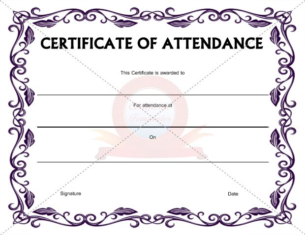 Certificate of Attendance Template CERTIFICATION OF ATTENDANCE - free printable perfect attendance certificate template