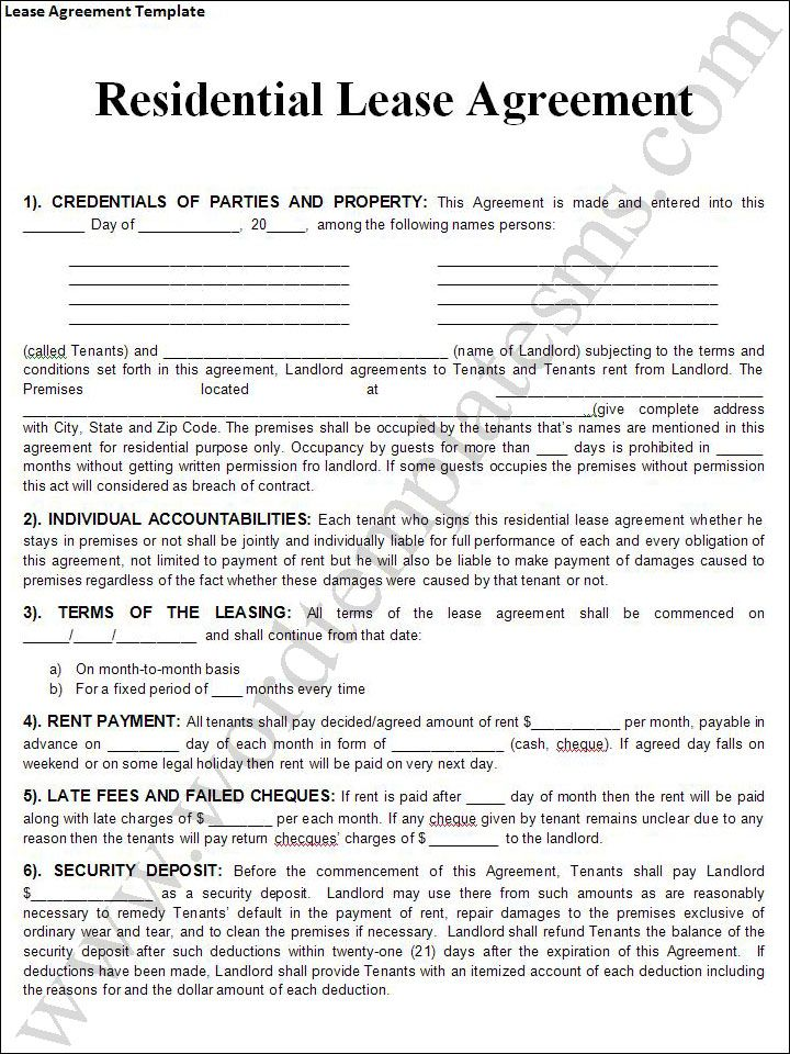 Printable Sample Rental Lease Agreement Templates Free Form Real - sample lease agreement template