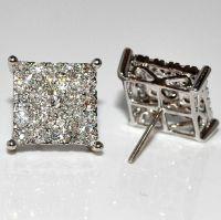 Mens Diamond Stud Earrings Xl Big Square Round Dia Screw ...
