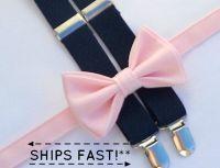 Pale Pink Bow Tie & Navy Suspenders -- Boy Suspenders and ...