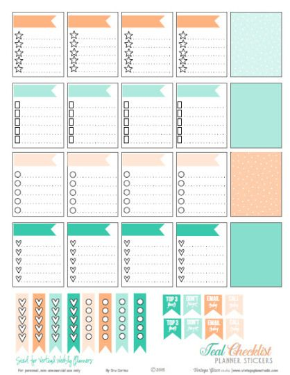 Teal \ Cantaloupe Checklist Stickers Free Printable Download of - weekly checklist