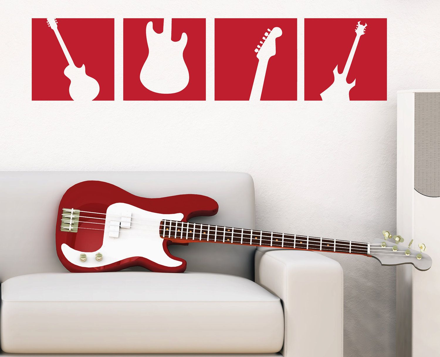 Guitar Decor For Bedroom Guitar Wall Decal Squares Vinyl Wall Art Sticker Boy