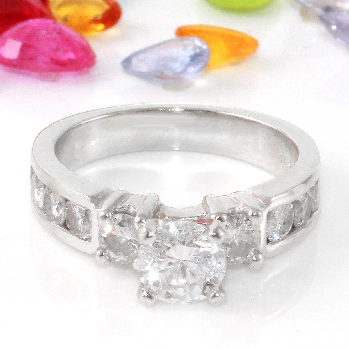 wedding ring 1 80 Carat Natural Diamond 14K Solid White Gold Engagement Ring