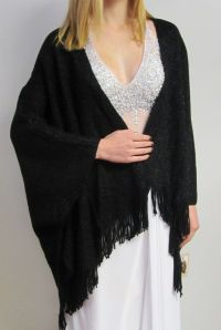 Wondrous Black Evening Ruana Cape Wrap for women - a touch ...