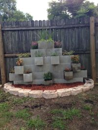 Cinder block garden wall... Our newest addition to the ...
