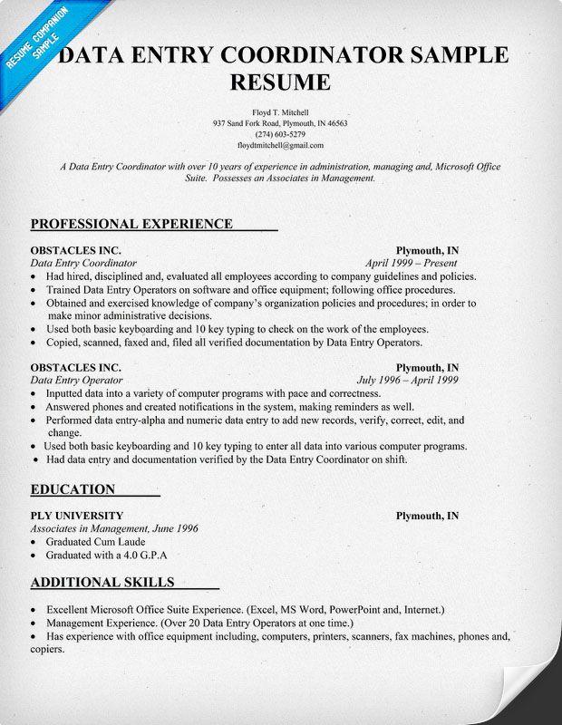 Data Entry Coordinator Resume Sample (resumecompanion - resume for data entry