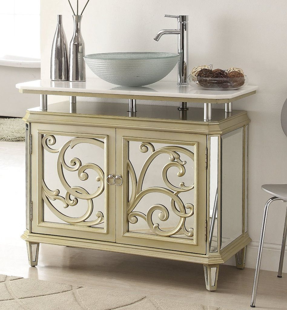 Adelina 38 5 inch mirrored reflection vessel sink bathroom vanity chest features a smooth finished design