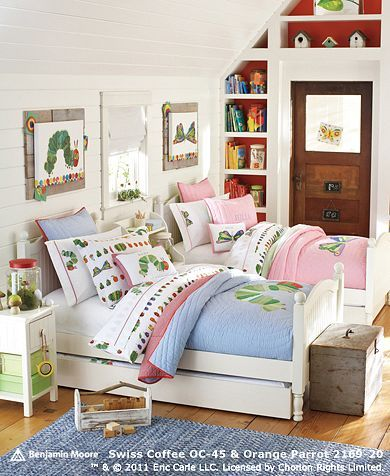 Boy + Girl Sharing Room ideas Eric Carle inspired artwork and - boy and girl bedroom ideas
