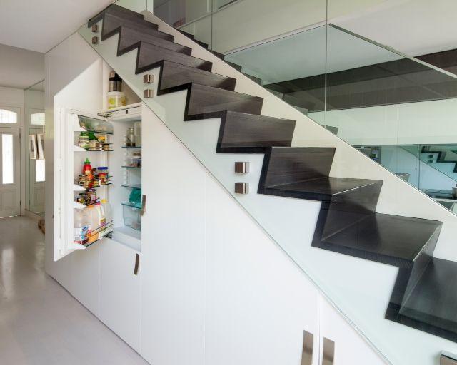 Paddington Sydney, Integrated under stairs laundry, fridge, pantry - under stairs kitchen storage