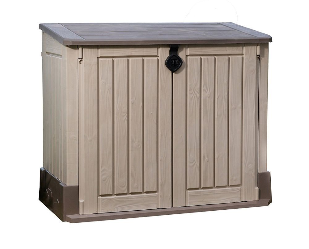 Keter Kissenbox Rockwood All New 30 Cu Ft Yard Garage Storage Shed Landscape Garden Tools