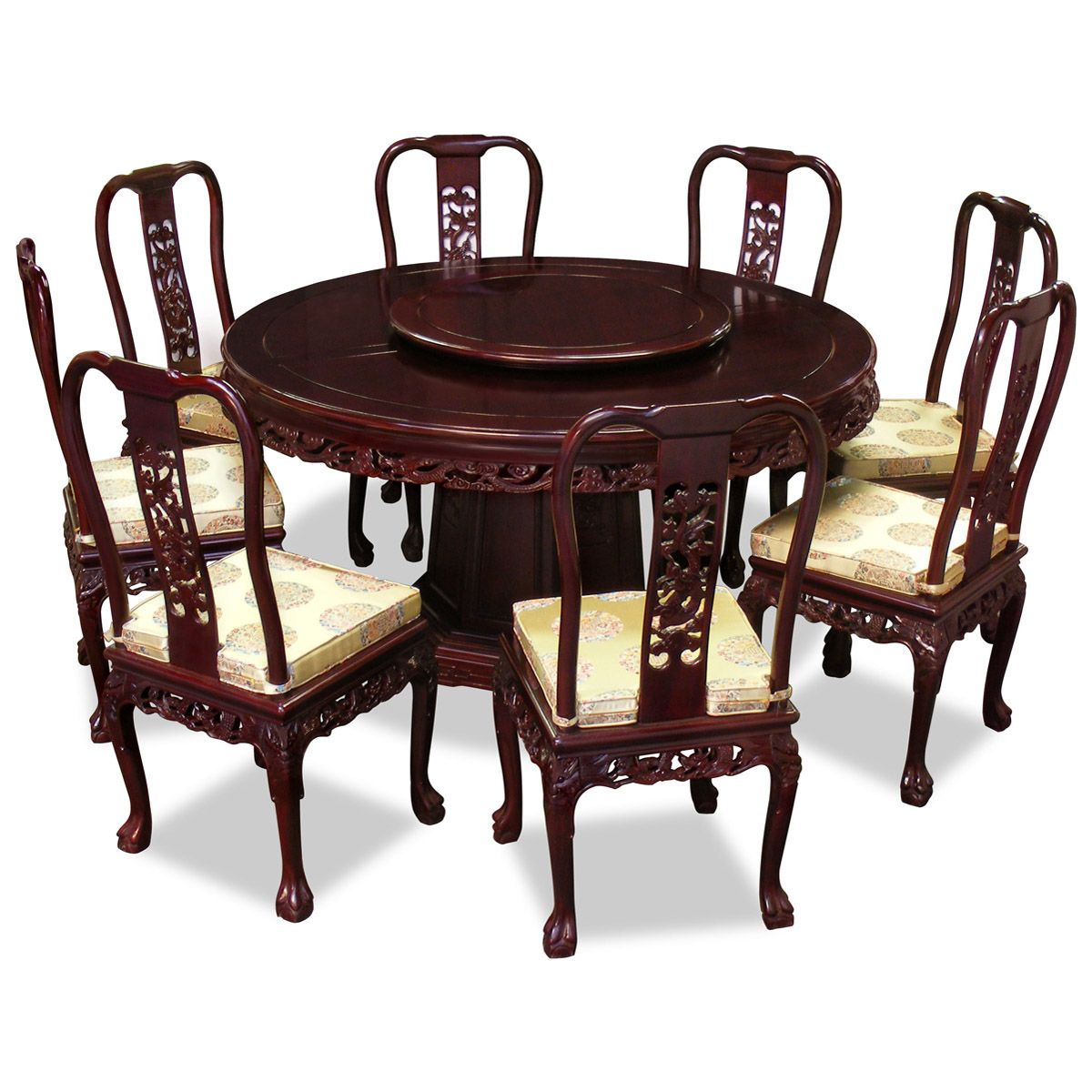 Runde Esstische Esszimmermöbel 60in Rosewood Imperial Dragon Design Round Dining Table With 8