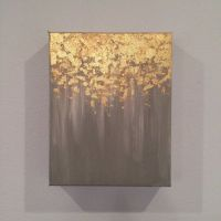 SALE Gold leaf painting, abstract gold leaf painting, 8x10 ...