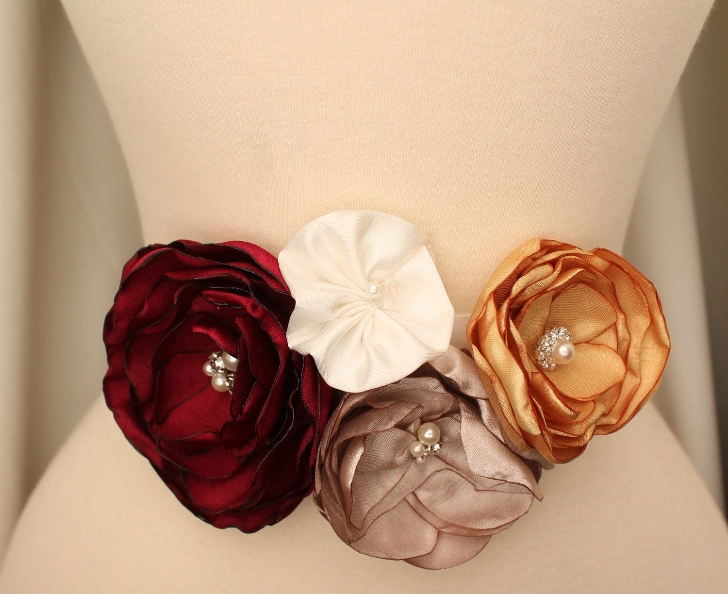 Bridal floral sash belt two piece cranberry champagne gold ivory sash autumn fall winter wedding bridesmaids sashes many colors