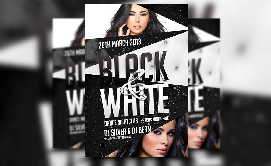 Awesome Black and White PSD Club Flyer Template Download at http - black and white flyer template