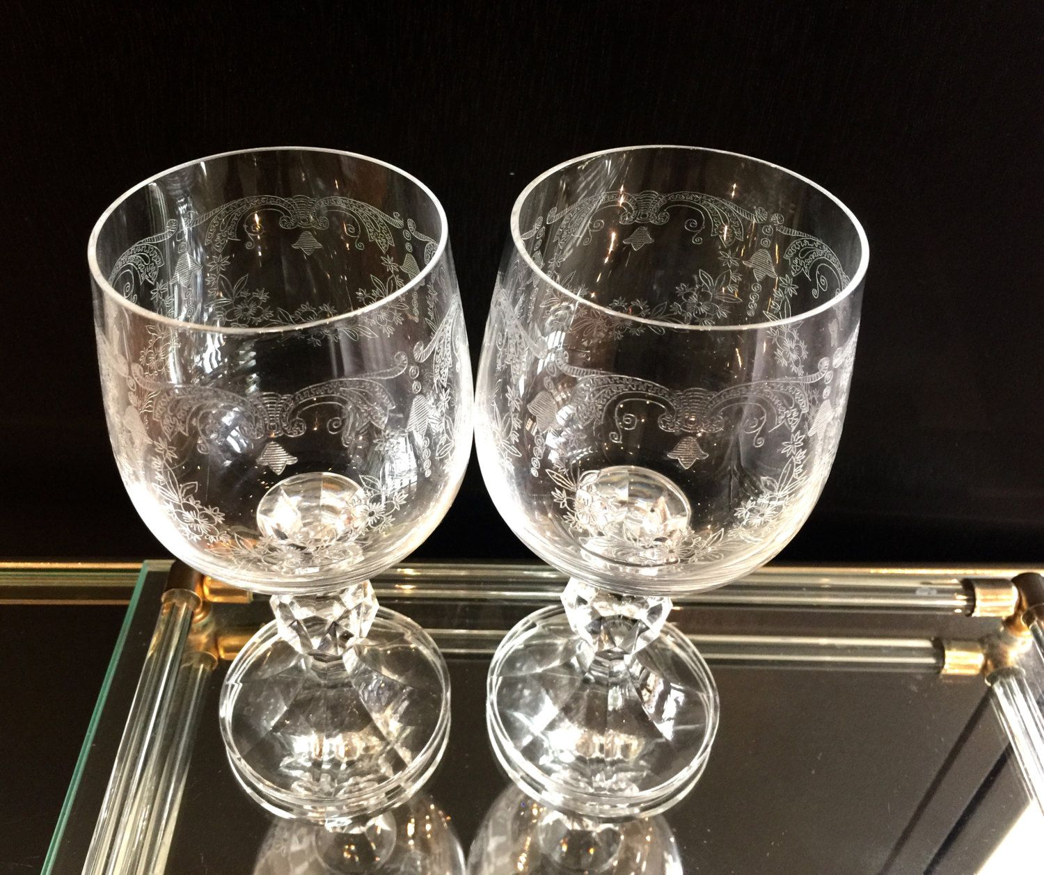 Crystal Stemware Wine Glasses Vintage Set Of 2 Bohemia Crystal Cascade Bell Etched