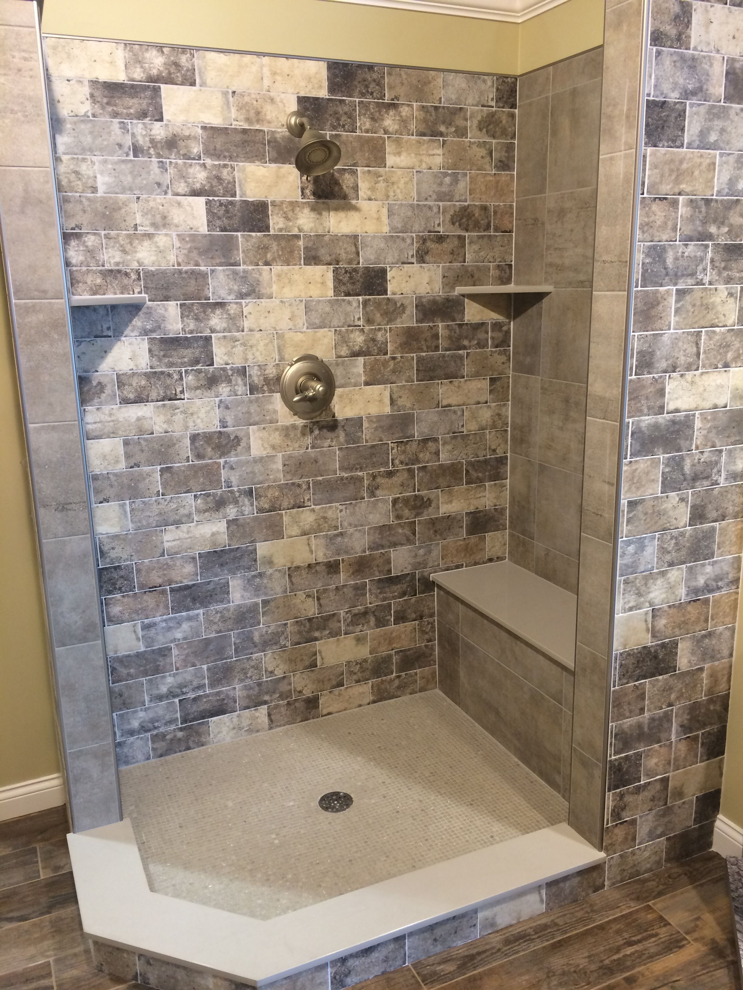 White Brick Look Tile Another Awesome Shower Design By Our Own Jesse Lewellyn