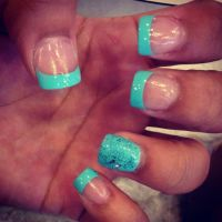 Bright Blue French Tip   Nails    Pinterest   Makeup ...
