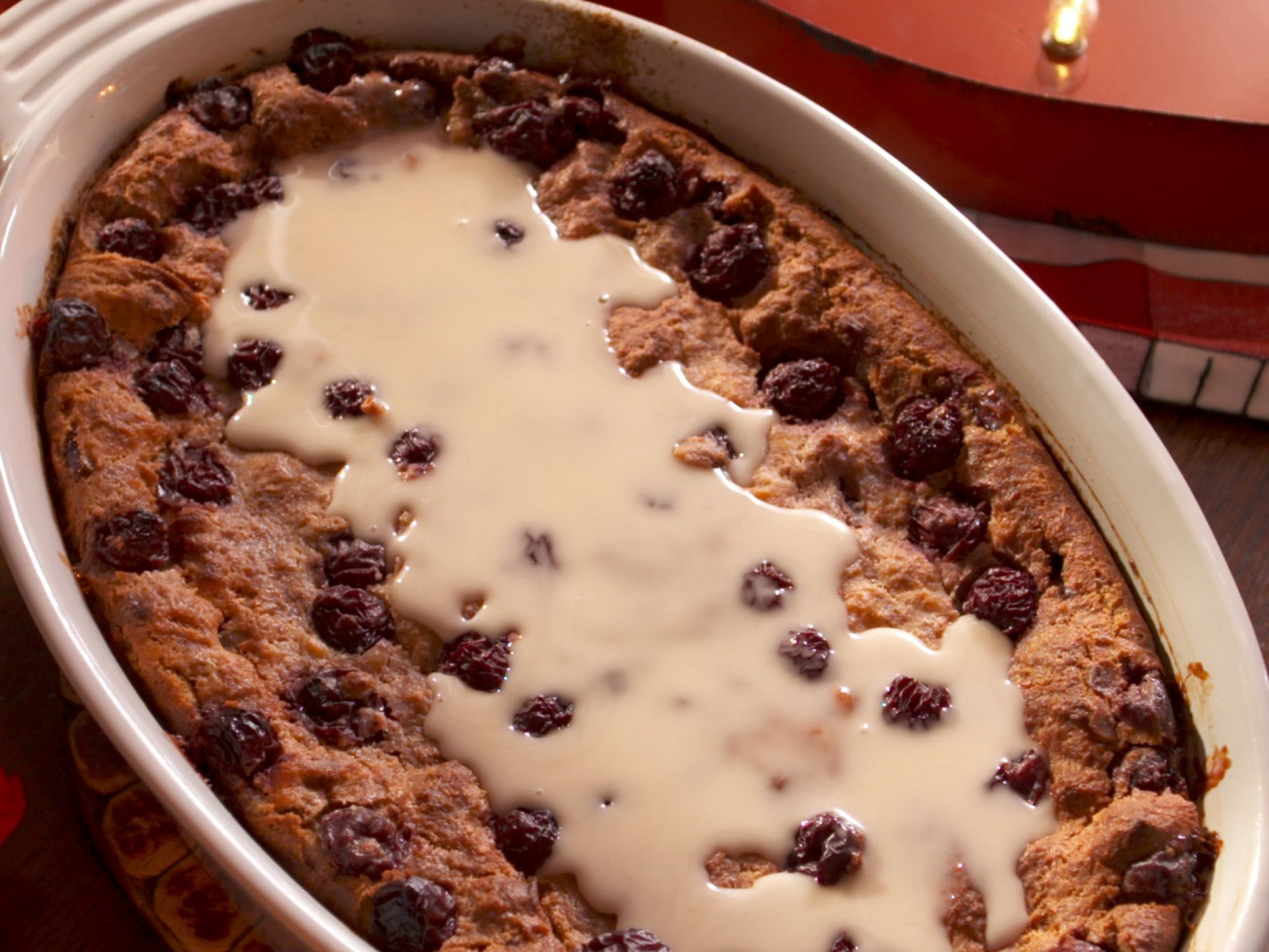 Farmhouse Rules Meatloaf Bourbon Soaked Cherry Bread Pudding With Vanilla Glaze