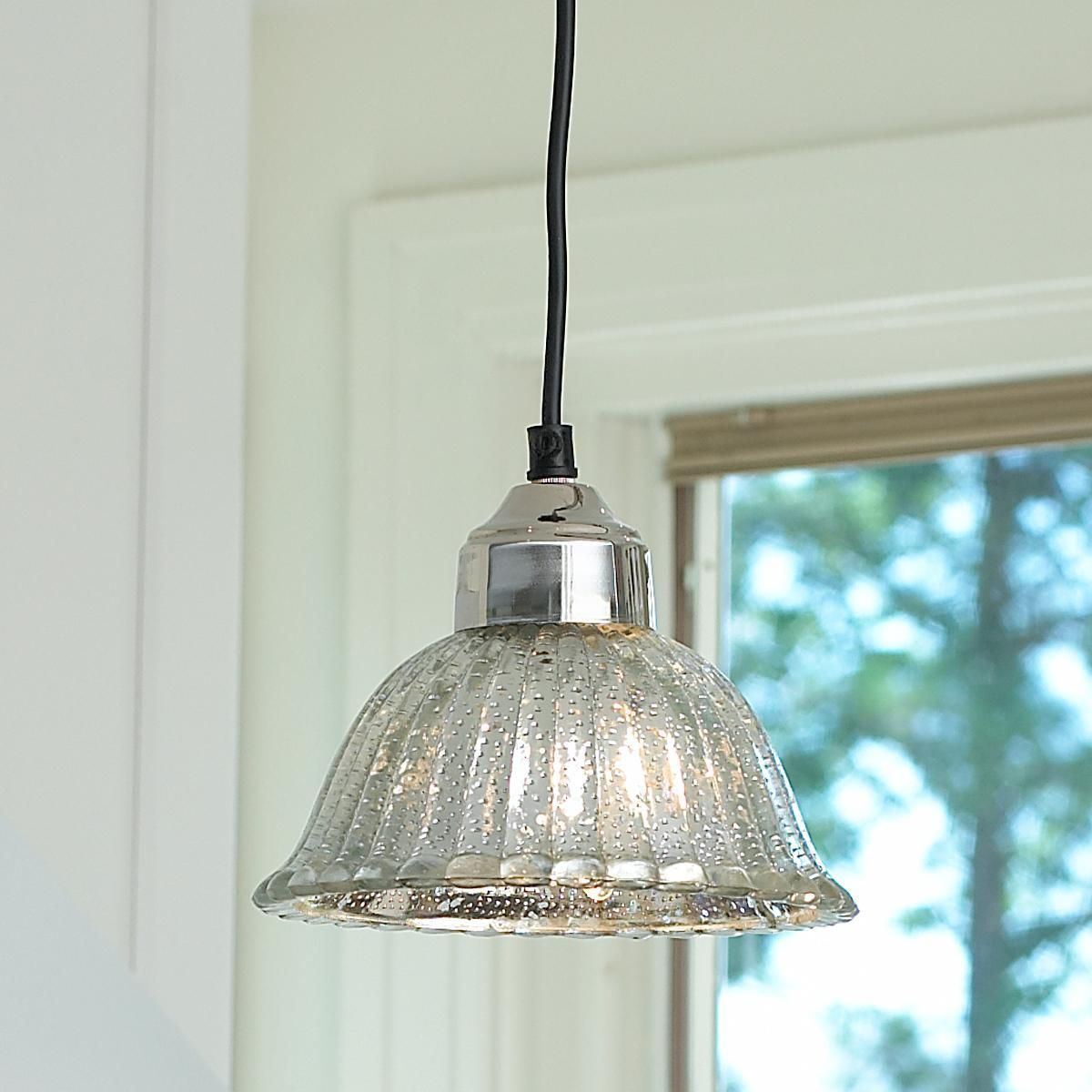 Kitchen Pendant Lighting Glass Shades Fluted Mercury Glass Bell Pendant Shades Of Light Mb