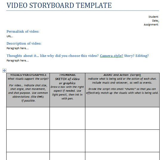 video storyboard template, production storyboard template - video storyboard template