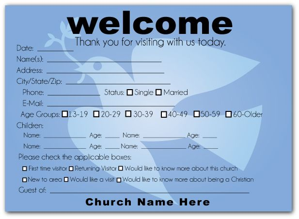 church welcome cards - Google Search Pew Cards Pinterest - guest card template