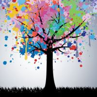 Stock vector of 'Abstract colorful tree. Vector background ...