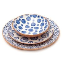 terracotta hand-stamped dinnerware made in Portugal ...