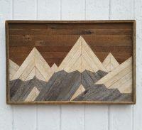 Reclaimed Wood Wall Art, Mountain Range, Lath Art, Shabby ...
