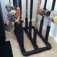 Fishing pole holder made out of PVC pipe and spray painted ...