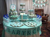 """Baby & Co"" themed baby shower table. Made Tiffany blue ..."