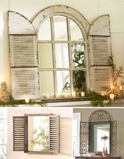 Vintage Window Shutter Decor wooden, and metal window - home decor mirrors