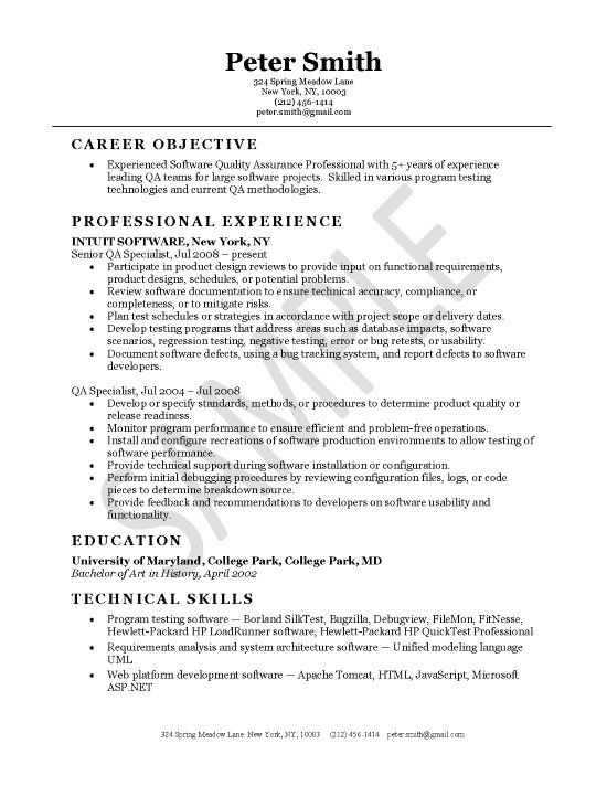 software quality assurance resume objective sample