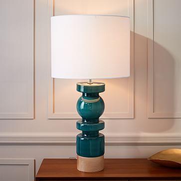 Scandinavian Glass Table Lamp - Large #westelm Living Room - glass table lamps for living room