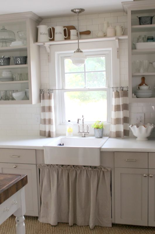 Love the open shelving \ cabinet curtain under the sink For the - cafe curtains for living room