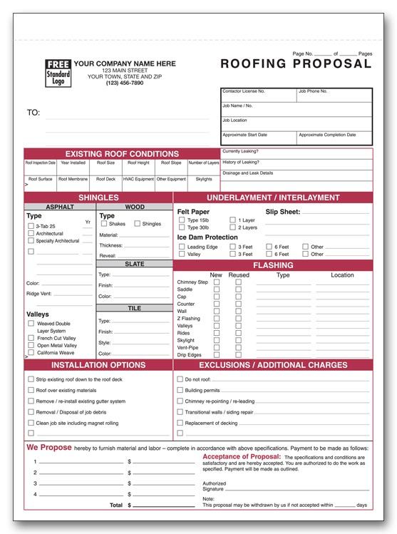Printable Roofing Estimate Sheet ROOFING FORMS Projects to Try - roofing contract template
