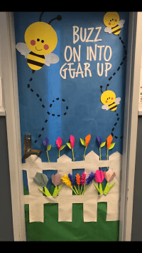 Classroom door door decoration spring Door decoration Buzz