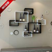 TV background wall shelving cross creative lattice shelf ...
