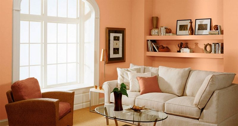 love the wall color livingroom Pinterest Peach walls, White - peach living room