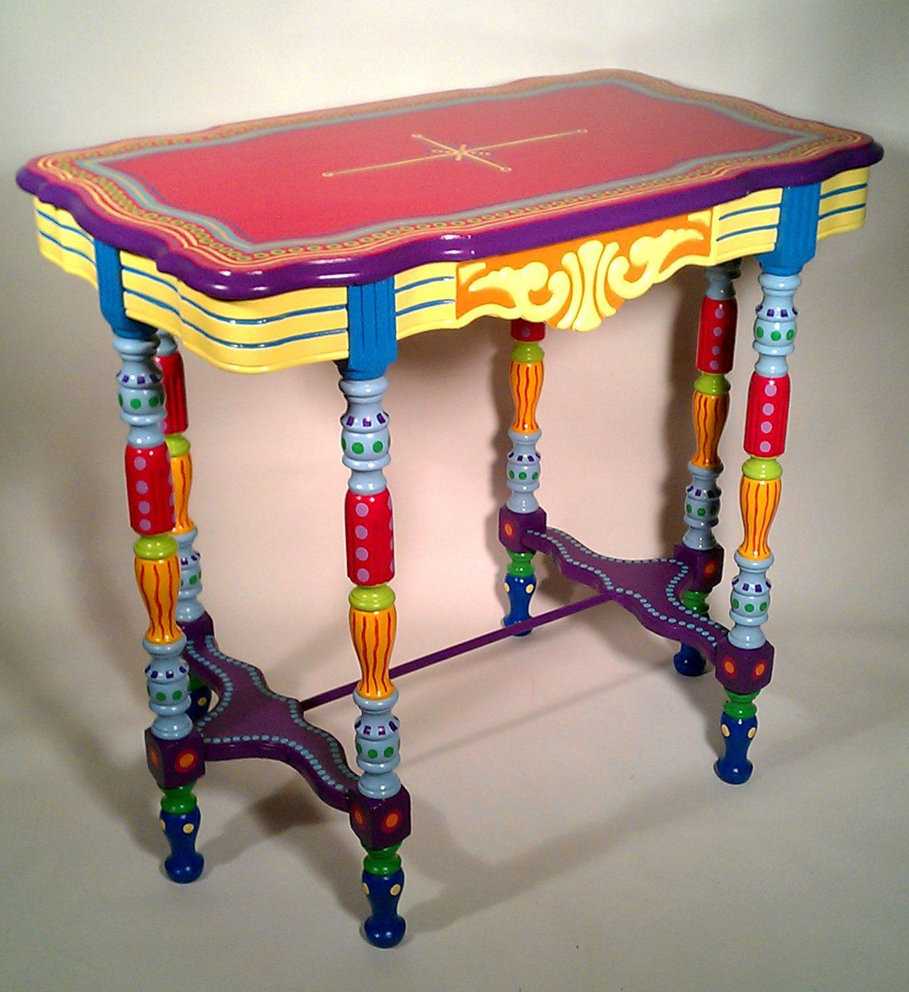 Painting Side Table Ideas Hand Painted Side Table Or Accent Table Painted Wood