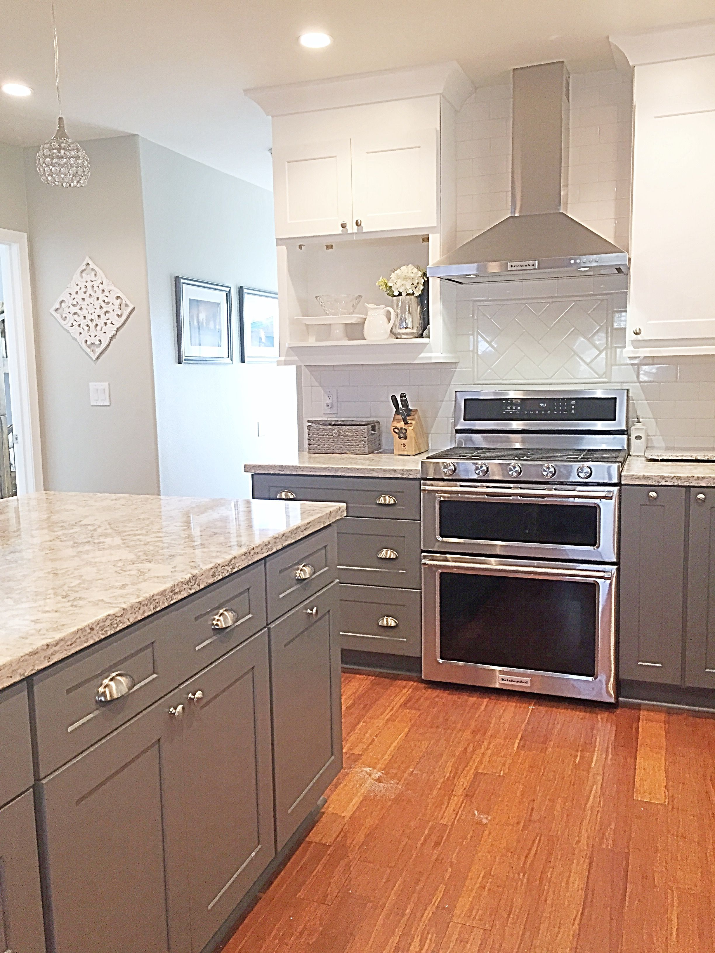 Black Base Cabinets White Upper Cabinets Cambria Quartz Berwyn Two Tone Kitchen Gray And White
