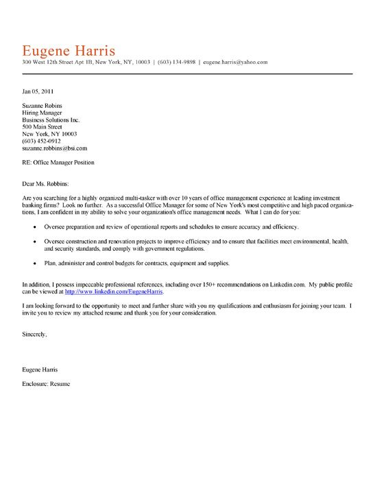 Office Manager Cover Letter Example Cover letter example, Letter - writing an attention grabbing career objective
