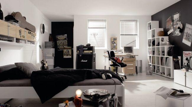 jugendzimmer einrichten junge schwarz weiß gitarren musik Zimmer - jugendzimmer gestalten